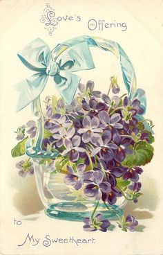 LOVE'S OFFERING TO MY SWEETHEART violets in glass vase, blue ribbon - TuckDB