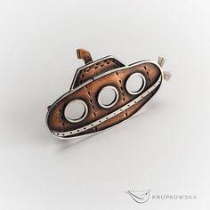 steampunk submarine brooch nautical brooch by JustynaKrupkowska