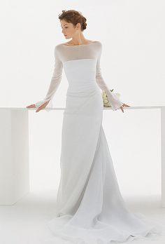 Brides: Le Spose Di Gi�. Plain sheer, long sleeves, pure silk dress. Completely made in Italy. Can be made to measure and customized.