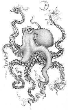Caia Koopman Ptg Caia Koopman t Artist Street art Octopus Drawing, Octopus Tattoo Design, Octopus Tattoos, Octopus Art, Tattoo Designs, Octopus Outline, Mermaid Tattoos, Love Canvas, Canvas Prints