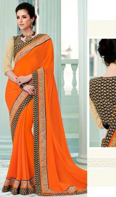Gain the center stage with this orange color shade silk embroidered sari. This lovely attire is looking extra beautiful with embellishment of lace, resham and stones work. #latestsilksaree #orangecolorsaris #eveningwearsarees