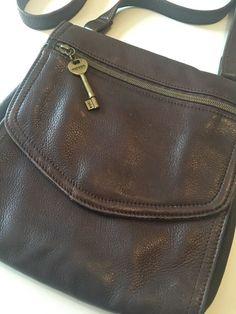 Vtg Brown Leather Fossil Crossbody Bag 1954 Purse 75082 Ebay