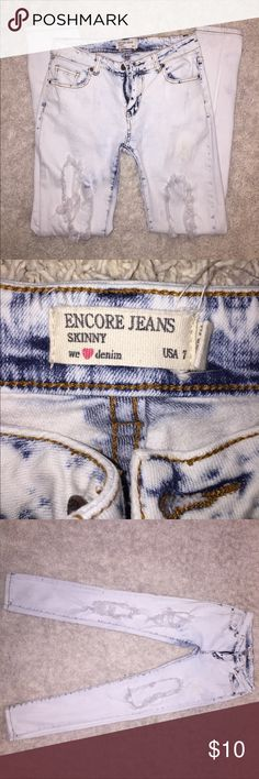 Acid wash encore distressed jeans Great condition, very distressed 😉 coming from a smoke free home. Feel free to bundle or offer. Jeans Skinny