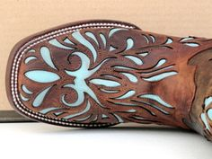 Stetson Cowgirl Boots Womens Mad Dog Goat w/ Lt Blue Inlay
