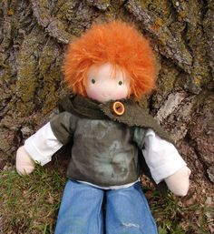 "Waldorf Doll Boy - redhead - Natural doll, made in the Waldorf tradition - 18 inch / 18"" / 45.7 cm. $112.00, via Etsy."