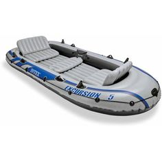 INTEX Excursion 5 Inflatable Rafting/Fishing Dinghy Boat Set - Walmart.com