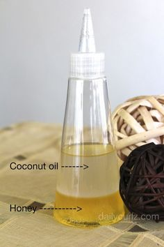 nice Dry hair.  Equal parts honey and coconut oil.  Put in microwave.  Heat. Put in a...