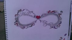 Infinity tattoo design with two childrens names in shaded section and pink…