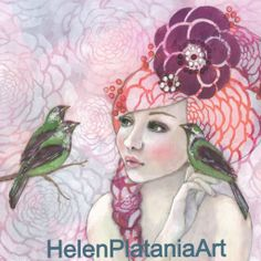 'Feather Report' Mixed Media Art Helen Platania Art Prints Avail  #mixed media #birds #girl #pink #whimsical