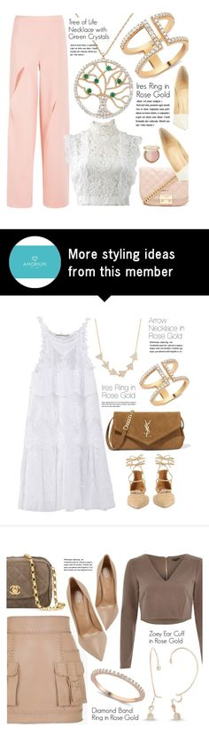 """""""Spring Formal"""" by amorium on Polyvore featuring Amorium, Forever 21, Christian Louboutin, Oscar de la Renta, Too Faced Cosmetics, white, Pink, rose and springformal"""