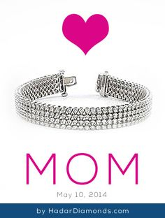 Mothers Day Diamond Tennis Bracelets by HadarDiamonds.com . Spoil her by lighting up her wrist with 3 rows of heavenly sparkle.  Custom sizes and designs available.