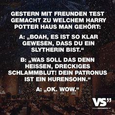 Visual Statements®️Gestern mit Freunden Test gemacht zu welchem Harry Potter Haus man gehört Sprüche / Zitate / Quotes / Spaß/ lustig / witzig / Fun