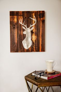 Reclaimed Barn Wood Stag Sign