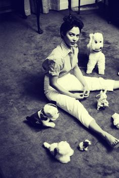 Dorothy Dandridge sitting on the floor with stuffed toy animals. Love this one the most. ^_^    YES!!!!!