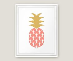 Ananas rose, Art mural ananas, ananas imprimable, rose scandinave, fruits imprimable, rose or Poster, Nursery de corail, bébé fille Art