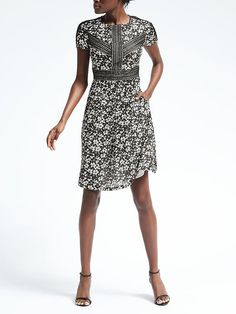 Banana Republic Spring 2017 Lace Insert Floral Dress