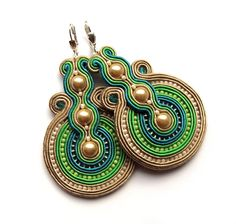 Statement+earrings+soutache+colorful+handmade+by+SaboDesign,+$110.00