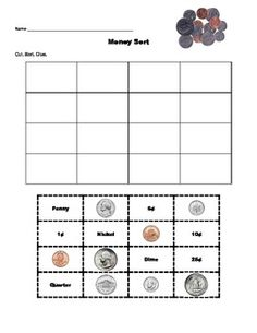 This money sort is a great way to let students practice matching pictures of money with the words and amount. There are three sorts. Penny, Nickel,...