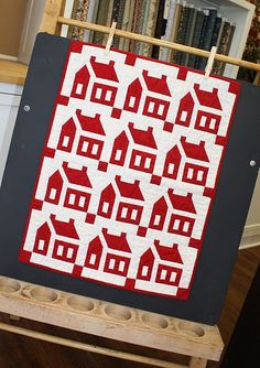 little red and white house quilt