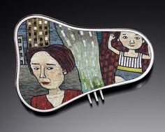 Cynthia Toops (& Chuck Domitrovich), Thursday's Child brooch, polymer clay micro mosaic.