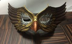 Metalic painted bird mask masquerade boudoir Halloween mask OOAK