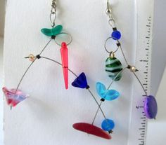 Vida, unmatched,mobiles,  funky, red, blue, green,purple, turquoise, geometric, contemporary, asymmetrical, fun, funky by Lindatwist on Etsy