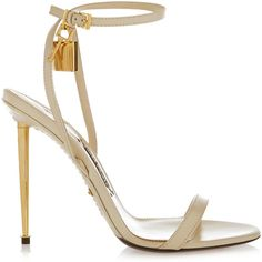 Tom Ford Leather sandals ($1,080) ❤ liked on Polyvore featuring shoes, sandals, heels, high heels, sapatos, white, white shoes, white sandals, high heel shoes and leather strap sandals