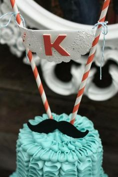 Close up of the cake details. Love the mustache! #rufflecake #mustache