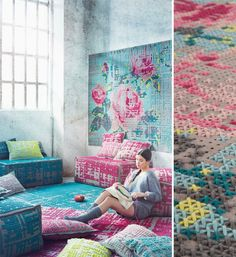 cross stitch on a large scale.  love the rug (on the wall).  this is great inspiration.