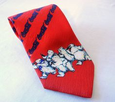 Coca Cola Polar Bears Men's Necktie Red with Blue Lettering, Licensed Product by CandyAppleCrafts, $15.00