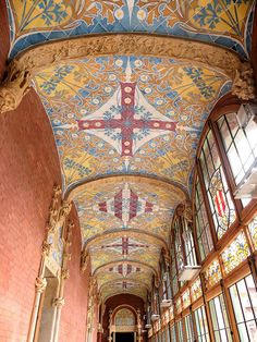 Ceiling at Hospital de la Santa Creu i Sant Pau (Hospital of the Holy Cross and Saint Paul) in Barcelona, Spain - photo by Arnim Schulz, via Flickr;  built in the early 1900s