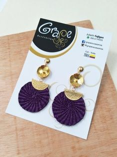 ARETES IRACA VIOLETA Color Violeta, Crochet Earrings, Personalized Items, Rattan, Jewelry, Natural, Fashion, Amor, Fashion Earrings