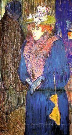 "Henri de Toulouse-Lautrec, ""Jane Avril in the entrance to the Moulin Rouge (Jane Avril all'entrata del Moulin Rouge)"", Courtauld Gallery, Londra Henri De Toulouse-lautrec, Tolouse Lautrec, Art Français, Impressionist Art, Art Moderne, Le Moulin, Renoir, French Artists, Matisse"
