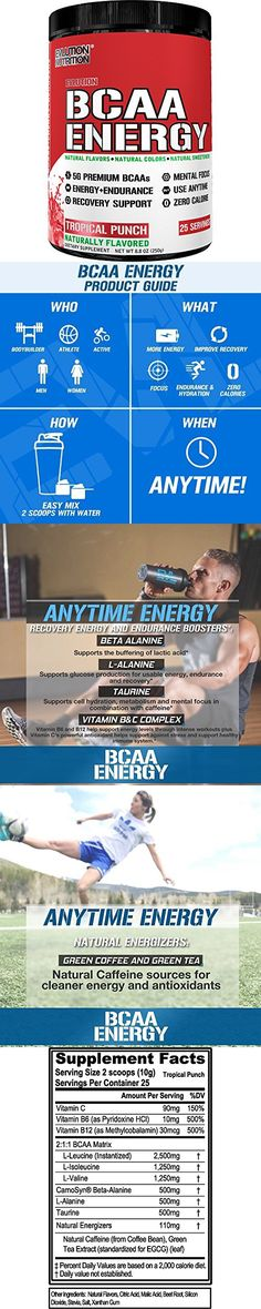Evlution Nutrition BCAA Energy - Naturally Flavored Energizing Amino Acid Supplement for Muscle Building, Recovery, and Endurance (Tropical Punch)