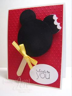 Mickey mouse punch art popsicle card. Add a pink bow and background........