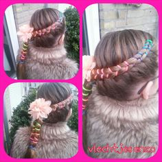 a colorful figure 8 braid. Love this one. #cutegirlshairstyles #hairstylesforgirls #braidsforgirls #braids