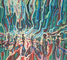 Modern acrylic paints on MDF board 93x103 cm.  Untitled: 07012016. Artist: Piotr Banachowicz, Poland