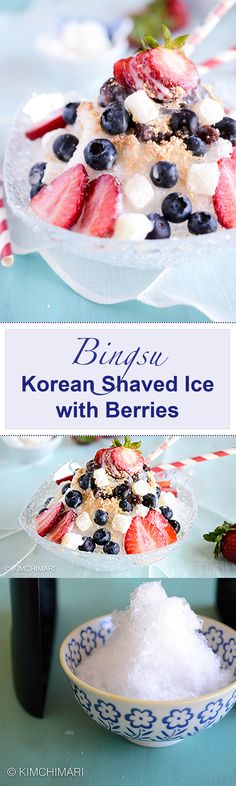 Try Bingsu - Korean Shaved Ice with berries, mini mochi cake, sweetened condensed milk and misugaru (roasted grain powder). Most refreshing and cooling dessert on a hot summer day!