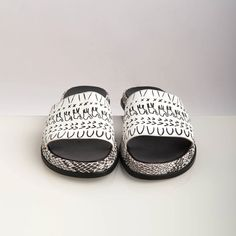 ON SALE, Women's Slides, Black and White, Linited Edition, hand printed camels and dunes, created as collaboration with Lax Shoes