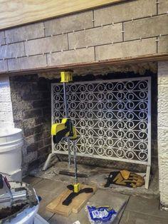 tiling over brick fireplace Fireplace Update, Brick Fireplace Makeover, Open Fireplace, Diy Fireplace, Fireplace Surrounds, Fireplace Design, Fireplaces, Fixer Upper House, Light My Fire