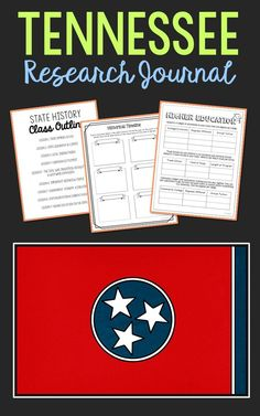 TENNESSEE State History Research Project. This complete notebook unit is the perfect companion to your annual state studies. Your students will use the internet to research a variety of topics to include: economics, government, geography, politics, current events, higher education, weather, historical figures, Native Americans, state symbols and icons, historic timeline, state flag, folk songs, Westward Expansion, the Civil War, and the Industrial Revolution.