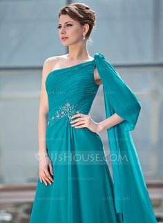A-Line/Princess One-Shoulder Floor-Length Chiffon Mother of the Bride Dress With Ruffle Beading (008018744)