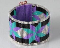 Nativa americana Dakota Star grano telar pulsera artesanales joyería joyería occidental blanco púrpura suroeste cuentas Bohemia