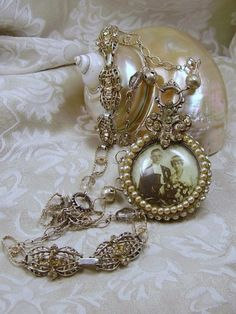 -- One of a Kind Assemblage Antique Pocket Watch Necklace