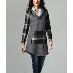 Reborn Collection Charcoal French Terry & Plaid Convertible Sweatshirt ($40) ❤ liked on Polyvore featuring tops, hoodies, sweatshirts, tall hooded sweatshirt, french terry tops, long length tops, convertible tops and french terry sweatshirt