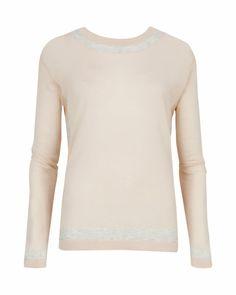 ARRIA - Stripe neckline sweater - Shell | Womens | Ted Baker UK