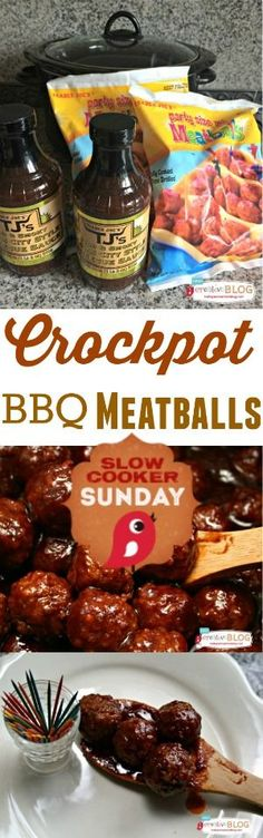 Crockpot BBQ Meatballs | Slow Cooker Sunday | TodaysCreativeBlog.net Slow Cooker Recipe, Crock Pot Recipes, Appetizers, Party Food