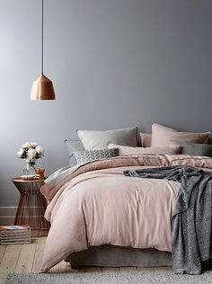 Blush, grey, copper | Home Republic vintage washed linen queen quilt cover and standard pillowcase, Adairs, www.adairs.com.au.