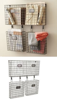 wall pockets 115979: rustic country style metal set of three