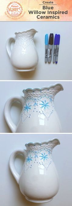 Create your own Blue Willow – inspired ceramics with this easy hack! Start with your favorite white ceramic dishes and a handful of blue Sharpie® markers. Paint details on your ceramics, emphasizing any raised lines or dots. For best results, use oil-based paint markers that don't require a bake-to-cure method.
